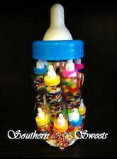 BIG BLUE BABY BOTTLE w 20 MINI BOTTLES JELLY BEANS LOLLIES CANDY BUFFET