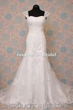 1581 White Ivory wedding dress cap-sleeves slim A-line emma maggie new Uk seller