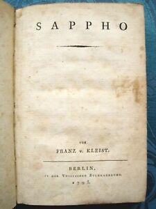 Franz von Kleist Sappho 1793 ERSTAUSGABE EXTREM SELTEN LYRIK DICHTUNG