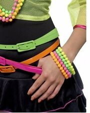 Neon fluro beads PLASTIC bracelets pink green yellow 4 set 80s COSTUME ACCESSORY