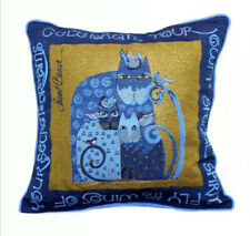 "Laurel Burch Indigo Cats Tapestry 17"" x 17"" Decorative Throw Pillow Blue"