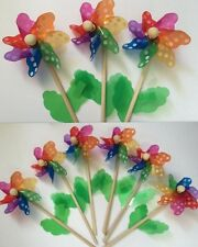 6x Small Colorful Poker Dot Plastic Pinwheel Wind Spinner Windmill Garden Party