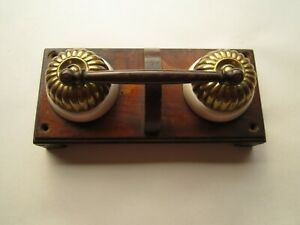 ANTIQUE VICTORIAN BRASS & CERAMIC LIGHT SWITCH LINKED PAIR JELLY MOULD TYPE