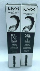 NEW (2-PK) NYX Doll Eye Mascara Long Lash DE01 EXTREME JET BLACK - Free Ship!