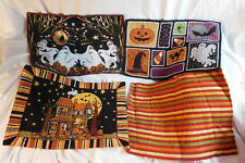 4 Halloween Fall Cloth Place Mats Ghosts Pumpkins Orange Embroidered Table Decor