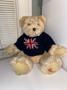 Harrods Teddy Bear Plush Union Jack Blue Sweater- Preowned