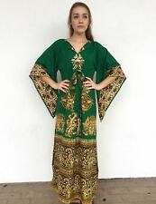 Vintage VTG 1970s 70s Angel Sleeve Green Ethnic Block Print Maxi Dress
