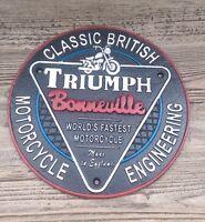 Triumph motorcycle sign vintage style Cast Iron Round Triumph Bonneville Sign