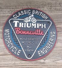 Triumph motorcycle Sign vintage style Cast Iron Round Triumph Bonneville Sign