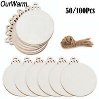 100x DIY Round Bauble Wood Slices Circles Unfinished Wooden Christmas Ornaments