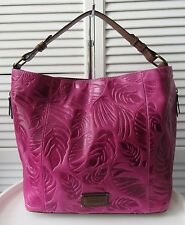 NWT TIGNANELLO PALM EMBOSSED VINTAGE LEATHER RFID HOBO BAG, SANGRIA