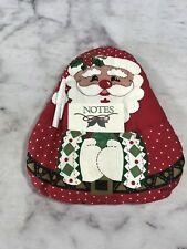Decorative Christmas Note Pad w/Pen Holder Fabric Wall Hook Home Decoration