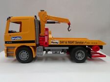 BRUDER TOY TOW TRUCK SLIDE TRUCK YELLOW WRECKER MADE IN GERMANY