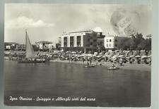 vecchia cartolina di  igea marina spiaggia e alberghi visti dal mare 1959