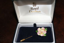 Royal Doulton Porcelain Yellow and Pink Rose Gold Tone Stickpin -New in Box