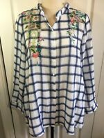 Monoreno Womens A-Line White Plaid LS Shirt wPockets & Beautiful Embroidery SzLg