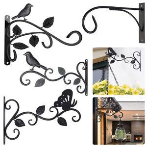 Decorative Metal Hanging Basket Brackets Garden Plant Hanger Hook Wall Décor New