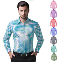 Men's Stylish Slim Fit Long Sleeve Small Grid Shirt Tops Buttons Front Retro New