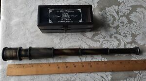 Brass Telescope with Wooded Box Royal Navy London 1915