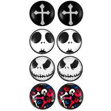 8pcs Goth Cross Skull Men Women Non Piercing Clip on Magnetic Stud Earrings*10MM