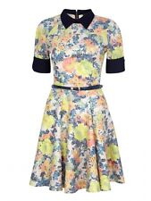 Closet London Floral Luxe Collared Skater Dress Size 10 Sold On ASOS