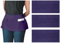 3pk Canvas 3-Pocket Waist Apron Bulk Set Short Waitress Waiter Server Half