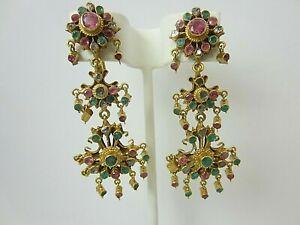 18k Yellow Gold 5.70 ct Emerald Ruby Diamond Dangle Earrings Ethnic Non Pierced