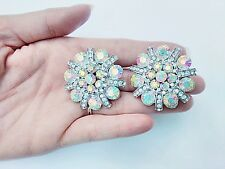 Silver Ab Aurora Crystal Earrings Clips Flower Drag Queen Pageant Ballroom Dance