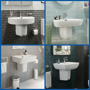 Modern Bathroom Basin Sink Semi Pedestal Set Wall Mounted Single Tap Hole 560mm