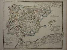 1846 SPRUNER ANTIQUE HISTORICAL MAP ~ IBERIAN PENINSULA SPAIN ROMAN ENTRY GOTHS
