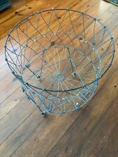 Vintage Allied Metal Wire Collapsible Laundry Basket Car with Caster Wheels