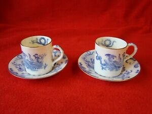 2 Vintage Royal Worcester Coffee Cans Cups & Saucers Blue Dragon 1930s??