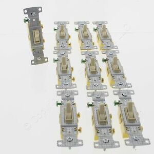 10 Hubbell Ivory Framed Toggle Light Switches Single Pole Residential 15A RS115I
