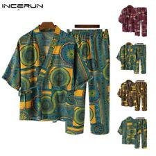 Mens Japanese Pyjamas Suit Yukata Kimono Nightwear Half Sleeve Shirt + Pants UK