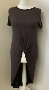 NEW! ZARA COLLECTION Taupe Brown Hi-Low Front Knot Lightweight Tunic Top Size L
