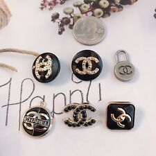 Set Of 6 Chanel Gold/Black Stamped Button Zipper Pull Metal Rhinestones