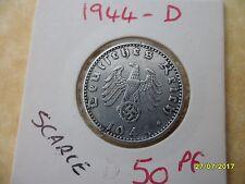 German 50 Reichspfennig 1944-D Third Reich Aluminium Coin WW2 pf