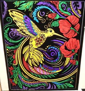 ORIGINAL ACRYLIC ON VELVET HUMMING BIRD FLORAL ABSTRACT PAINTING UNSIGNED 2016