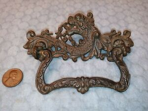 Ornate Serpent Drawer Pull Rare Cast Iron 3 Centers