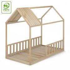 Cama Infantil Tipo Montessori, Casita Madera Natural con Barrera Barandilla
