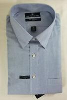 HART SCHAFFNER MARX MEN'S NON IRON COTTON DRESS SHIRT STRIPED BLUE -NWT