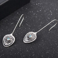 Women 925 Silver Sapphire Dangle Drop Ear Hook Earrings Fashion Wedding Jewelry