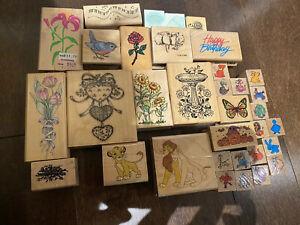 Wood block mounted rubber craft Scrapbooking Stamp card making vintage LOT of 34