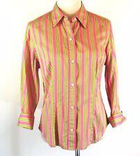 JONES NEW YORK Size L Pink Green Striped Cotton 3/4 Sleeve Shirt Blouse