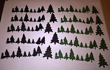 10 X DIE CUT ROWS OF CHRISTMAS TREES FOR CHRISTMAS CARD TOPPERS