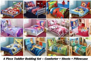 4PC BOYS GIRLS TODDLER BEDDING SET Comforter+Sheets+Pillowcase -MULITIPLE CHOICE