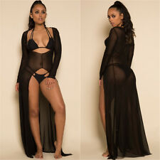 New black transparent robe gown pole dance wear night gown size UK 10