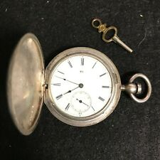 Wind Pocket Watch Size 10 With Key Elgin National Dexter St. Coin Silver Key