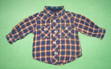 Zara tartan blue red brown shirt for boy 6-9 months 100% cotton