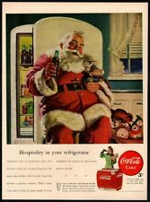 1947 COCA-COLA Soda - SANTA CLAUS Drinking A Coke Bottle - Christmas VINTAGE AD